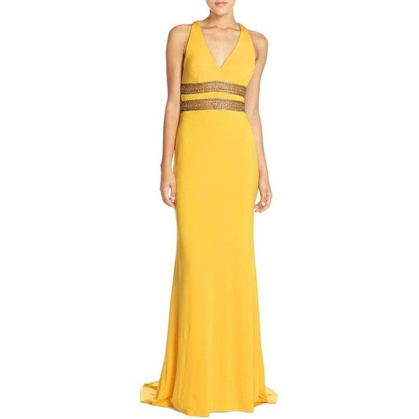 Terani Couture Embellished Cutout Gown ($448) ❤ liked on Polyvore featuring dresses, gowns, yellow, yellow dress, v neck gown, beaded evening dresses, beaded gown and v neck evening dress