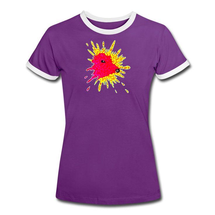 Pink Cow Splash! T-Shirt @spreadshirt  - #Naisten #kontrastipaita #womens #teeshirt #cow #splash #fashion #boldcolours #spreadshirt #cool #summerwear #vogue #art #designs #new #trends