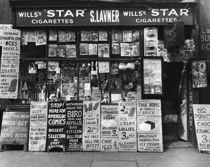 A newsagent on Bethnal Green Road, 1952 - wonderful to see the prices...