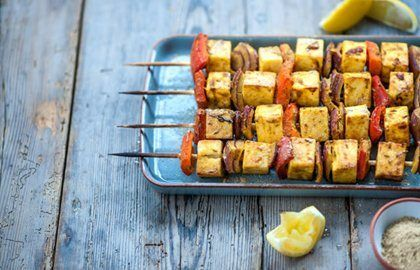 Paneer & Red Pepper Skewers Recipe - Kids Recipes - Great British Chefs. A great veggie option for vegetarians at a barbeque.