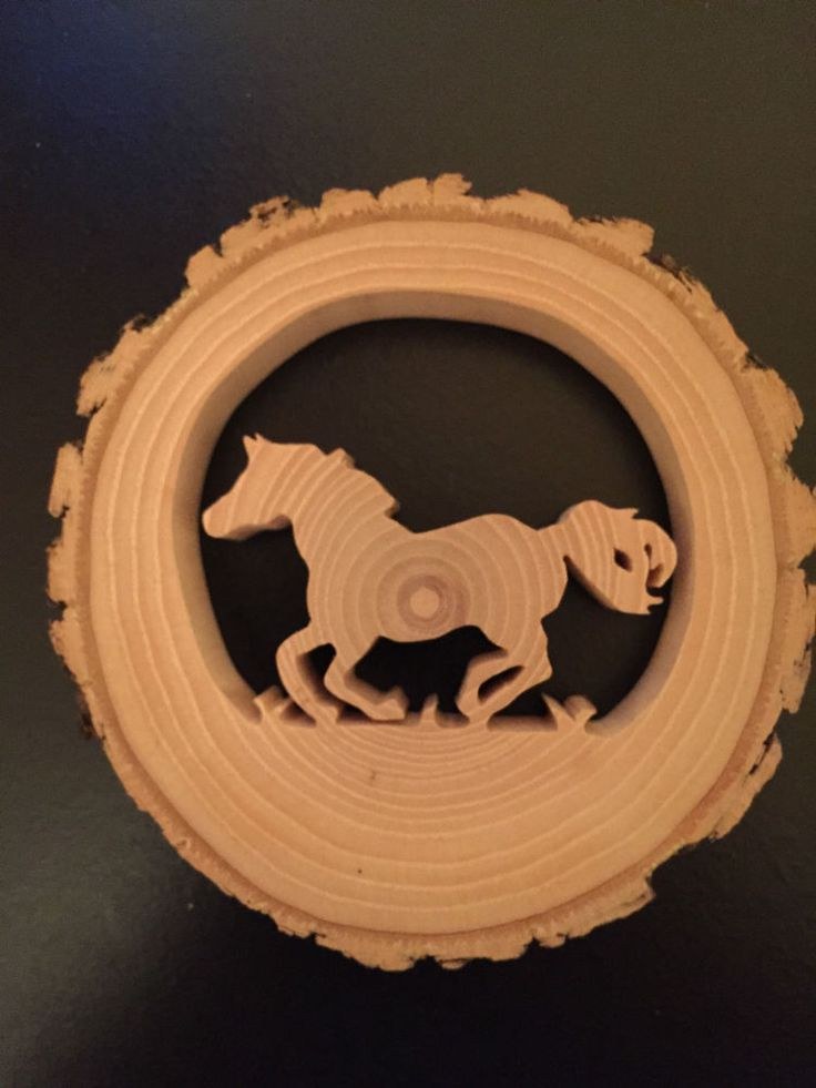 RECLAIMED TREE SLICE - RUNNING HORSE  -  CHRISTMAS / WINDOW / WALL ORNAMENT