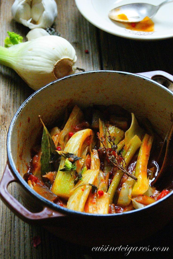 Fenouil braisé à l'aubergine et aux tomates.