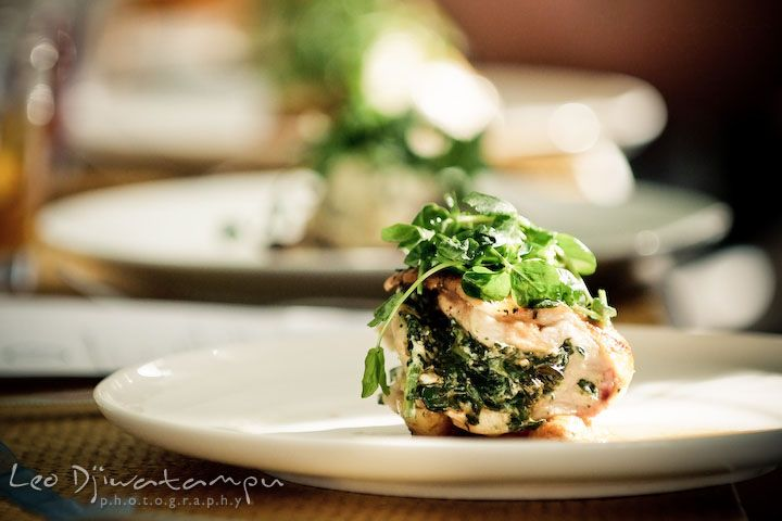 the entree for the wedding party lunch, breast of chicken stuffed with spinach and boursin, roasted, fingerling potatoes and herb pan gravy....