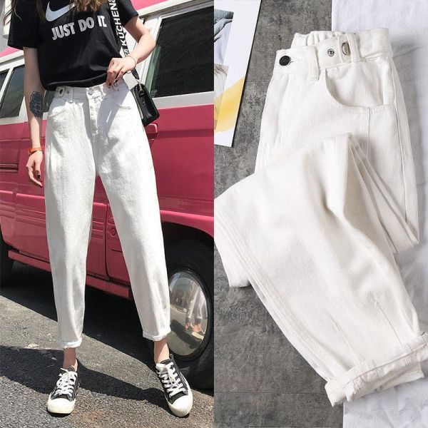 18 91us 48 Off Women High Waist Jeans 2020 Spring New White Plus Size Ankle Trousers Mom Jeans Loose Was Thin Harlan Jeans Streetwear Overalls Jeans Ali Casual Denim Casual Denim Pants