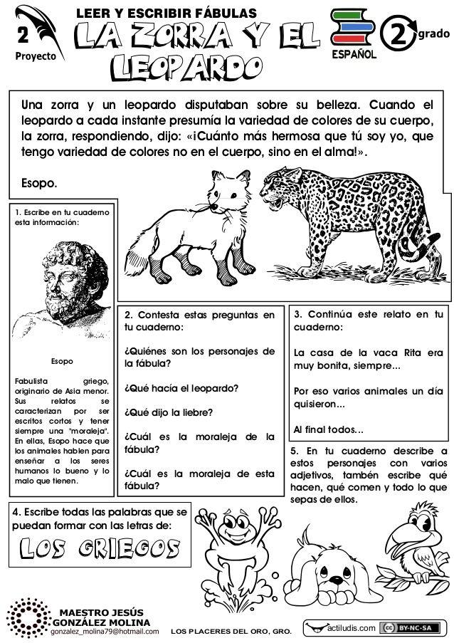 LEER Y ESCRIBIR FÁBULAS   LA ZORRA Y EL   Una zorra y un leopardo disputaban sobre su belleza. Cuando el   leopardo a cada in...