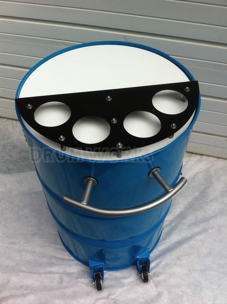 Recycled 55 gallon steel drum made into portable bar. Powder coated in Panther colors of teal with white, black and silver accents. Has casters to roll about on your deck, in your home or at the big game tailgate party. Touchdown!