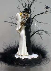 Amazing Love Never Dies Halloween Skeleton Wedding Cake Topper LOT Glasses
