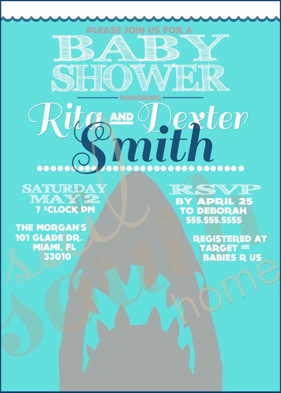Custom Shark Shower Invitation Shark Party by ...
