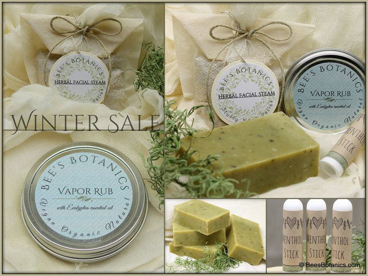 Cold Relief Winter Sale - Vapor Rub, Menthol Inhaler Stick, Peppermint Soap, and Eucalyptus Facial Steam Bath - Steep Savings! by BeesBotanics on Etsy