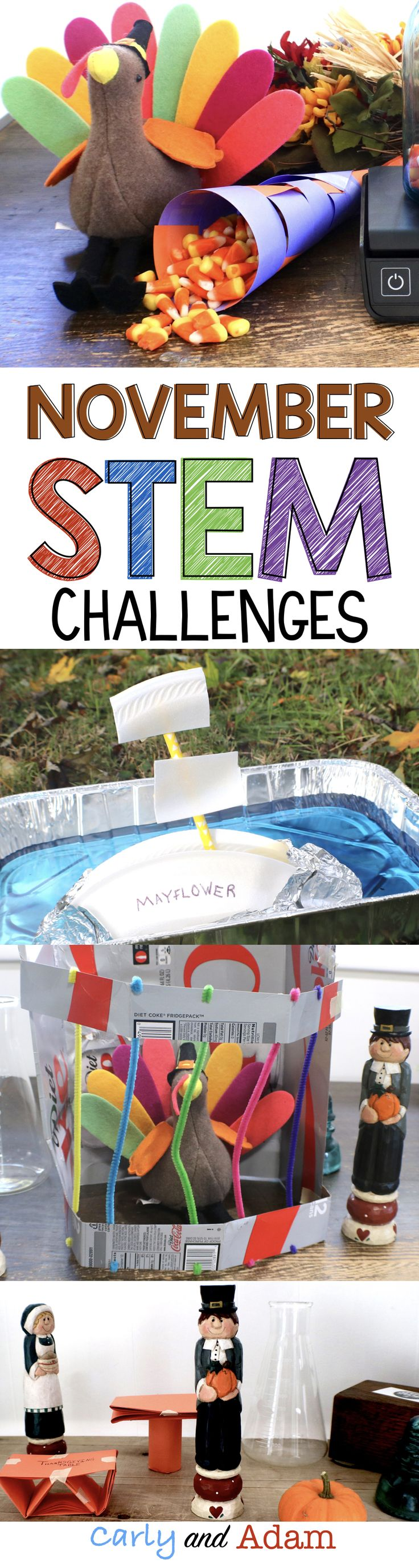 November Thanksgiving STEM Challenges (4 Fall Themed STEM Challenges)
