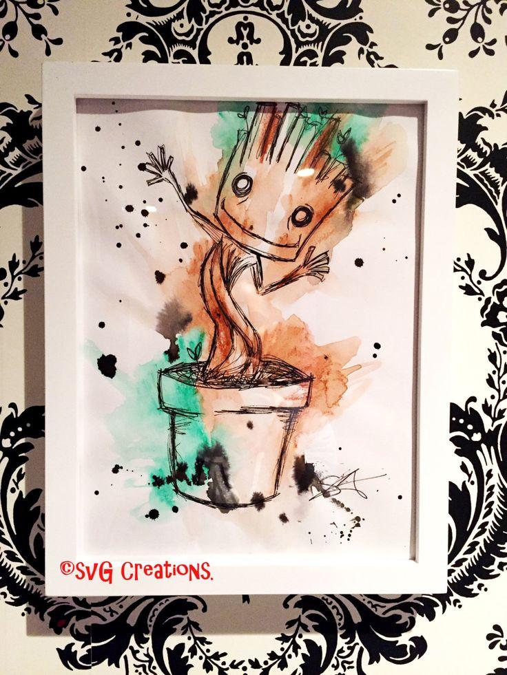 Groot Gardiens Galaxy peinture à l'aquarelle 9 x 12 / Guardians of the galaxy Groot watercolor painting 9 x 12 de la boutique SVGCreations13 sur Etsy