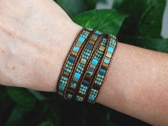 Tila Beaded Leather Wrap Turquoise Bronze Miyuki by PJsPrettys