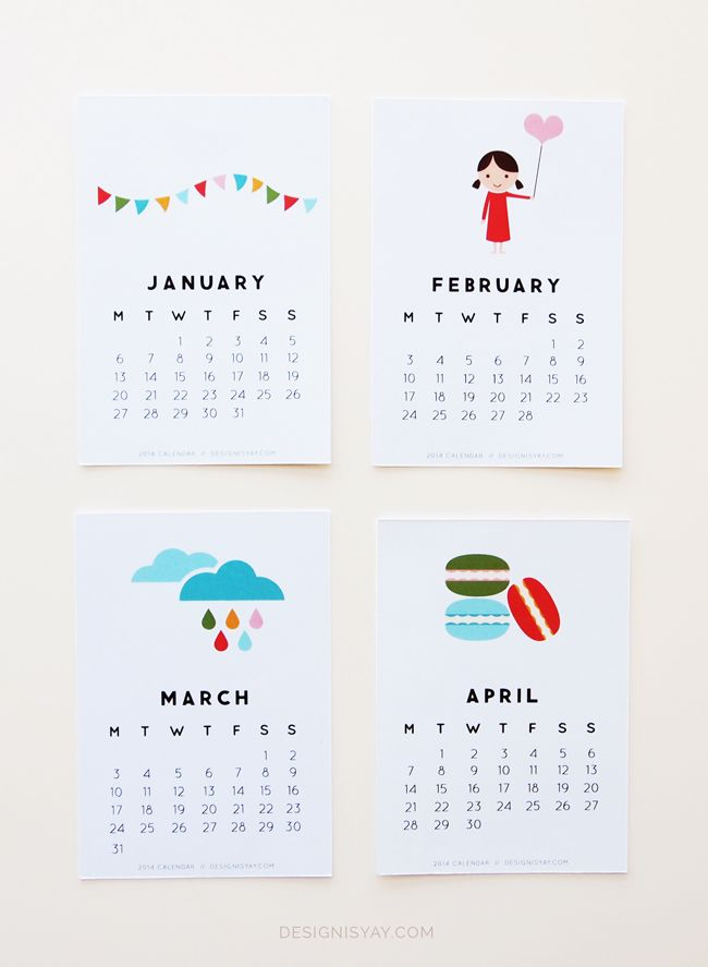 "Imprimible mes a mes de 2014 // ""Year of Colour"" Printable Calendar 2014 
