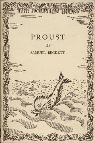 "Original pictorial boards for the first edition of Beckett's Proust (London: Chatto & Windus, 1931). Inscribed by Beckett to ""Ernie O'Malley Dublin June 1946."""