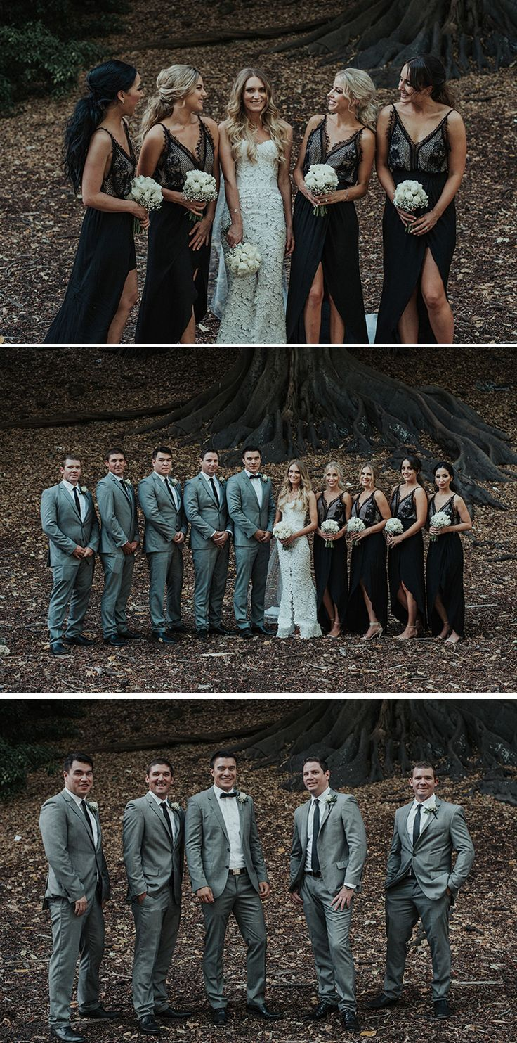Modern bridal party with grey suits for groomsmen and black lace dresses for bridesmaids | Shannon Stent Images | See more: http://theweddingplaybook.com/modern-black-and-white-urban-wedding/