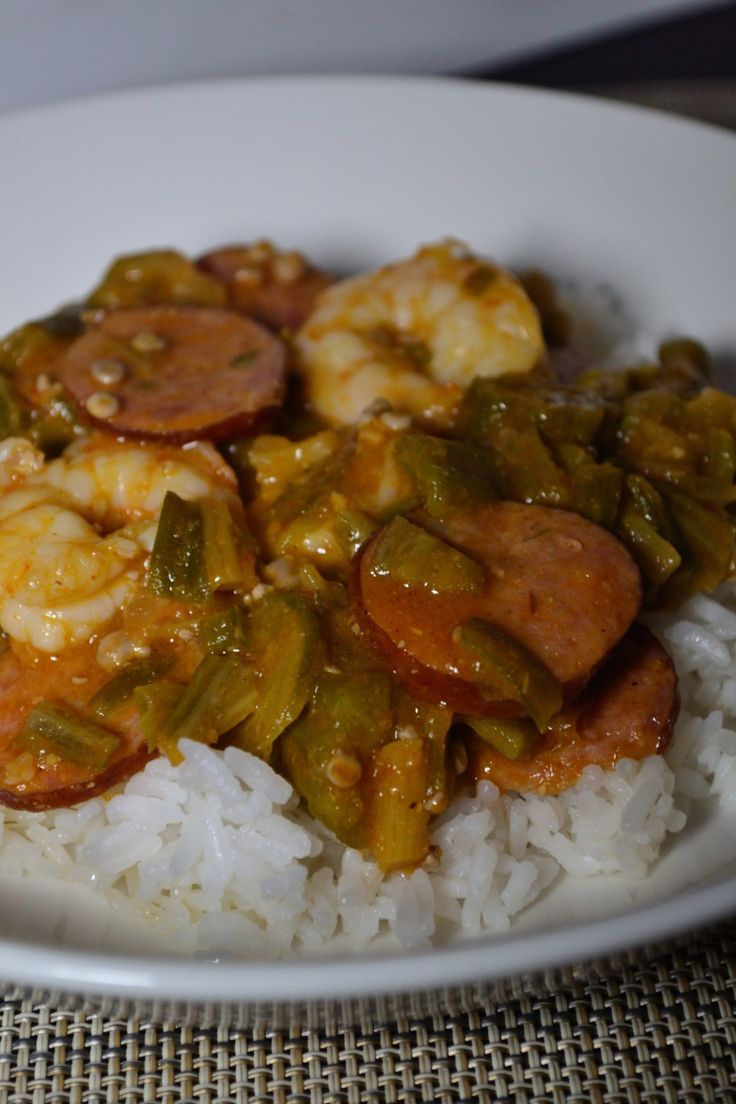 Smothered okra with sausage and shrimp