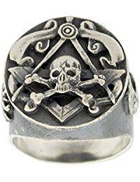 Plata de ley Amazing de calavera y huesos freemason-masonic Anillo de motero para hombre hecho a mano joyería