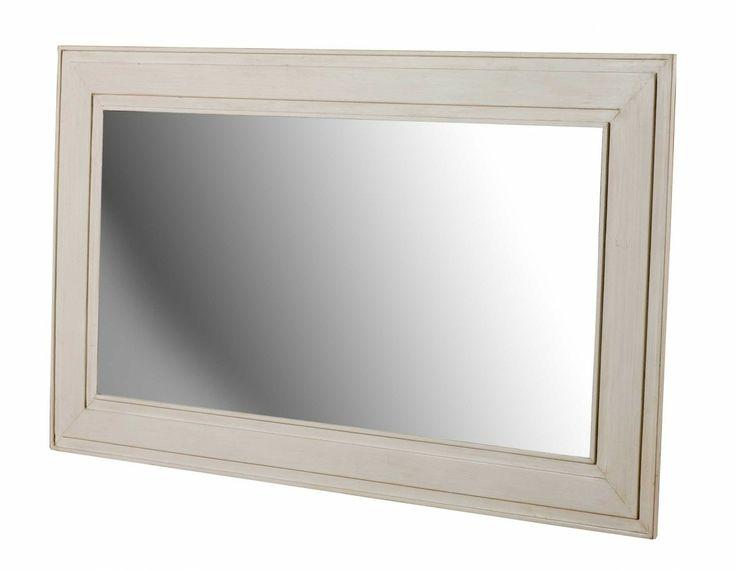 COD. ALASK-MIR1  SPECCHIO RETTANGOLARE Dimensioni: L106 P2 H80 cm Legno di Rovere Bianco Invecchiato Colore Piano: Miele Cerato