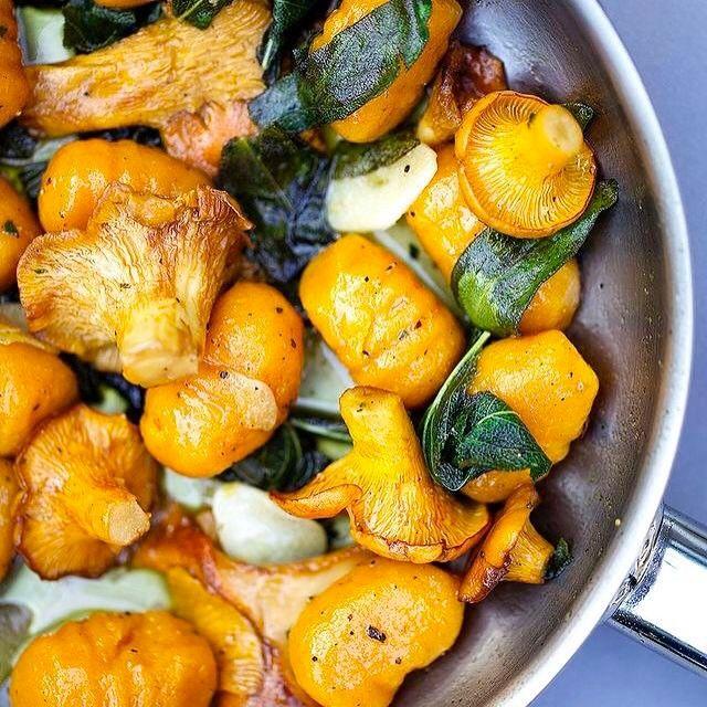 Alors là on s'est lâchés Voici des gnocchi à la patate douce et à la butternut qui vont twister n'importe quel repas, avec de la sauge, des champignons et des noisettes torréfiées ! Voici la recette des gnocchi (à accessoiriser selon vos envies !) Il vous faut 300g de potiron ou butternut, 200g de patate douce, 200g de farine departure, une pincée de muscade, de l'huile d'olive, du sel et du poivre ! Enfournez la courge et la patate douce coupées en 2 pendant 30 minutes a 18...