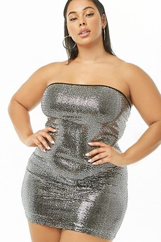 83815095816 Plus Size Sequin Tube Dress in 2019