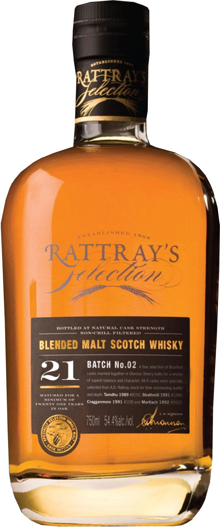Rattray's Selection Batch #2 21 Year Old Blended Malt #Scotch Whisky.  Aged for over 21 years, this #whisky was crafted by marrying together four unique single malts.   @Caskers
