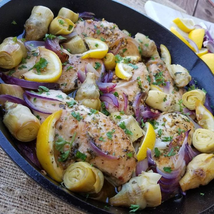 1-Pan Lemon Artichoke Chicken Recipe  http://cleanfoodcrush.com/lemon-artichoke-chicken/