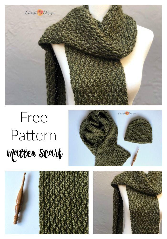 Matteo Scarf Pattern Crochet Scarf Pattern Free Crochet Mens Scarf Scarf Crochet Pattern