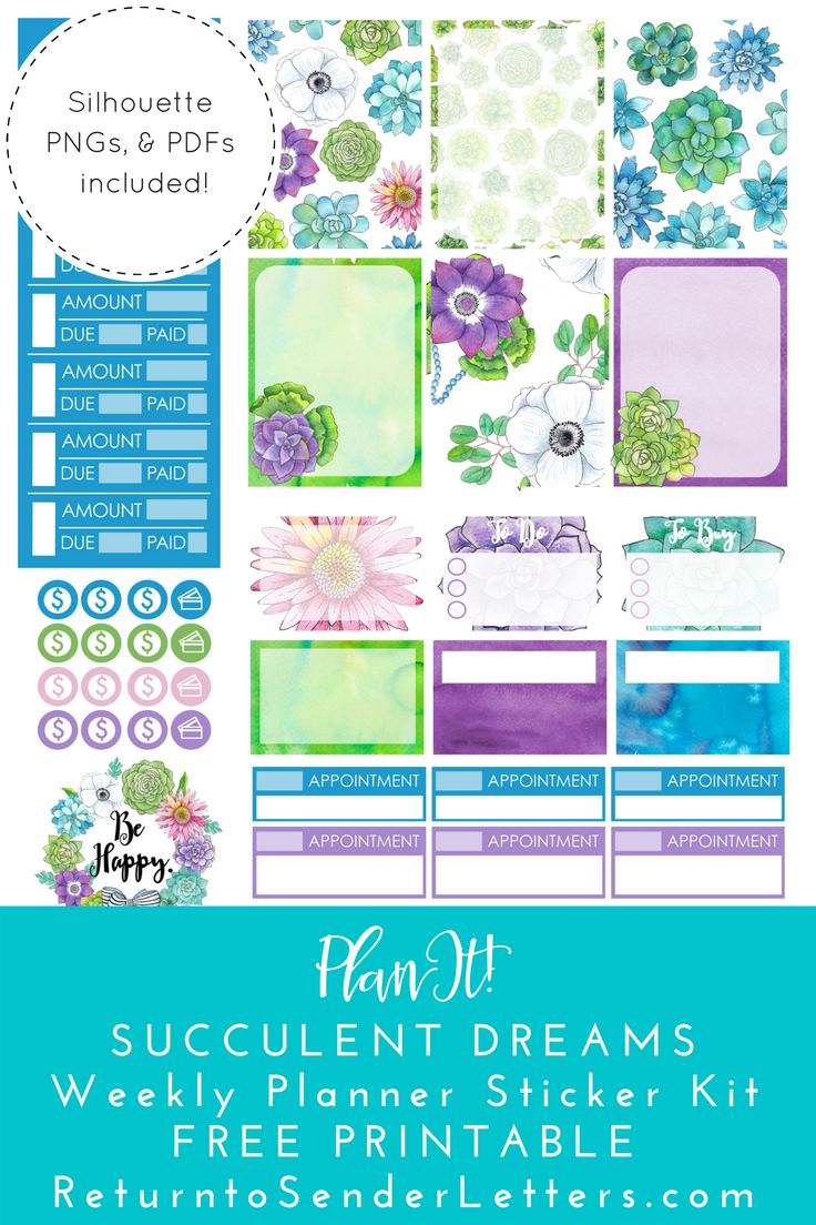 Free Printables Succulent Dreams Weekly Planner Sticker Kit {Includes png, PDF, .studio3 files} from Return to Sender