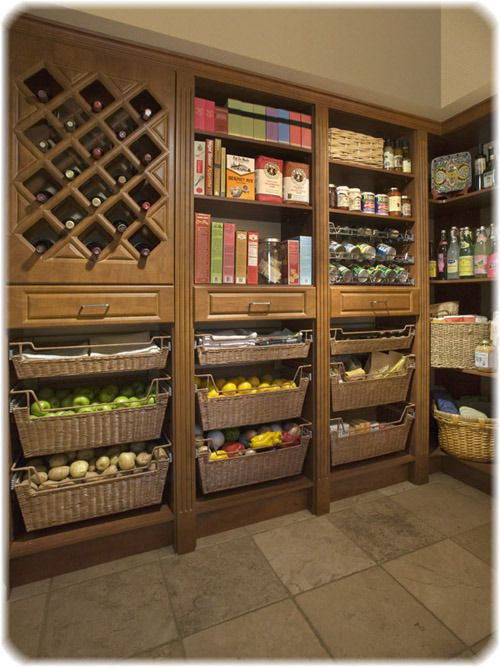 Pantry with Produce Baskets. Also want proper storage for grains, beans, etc