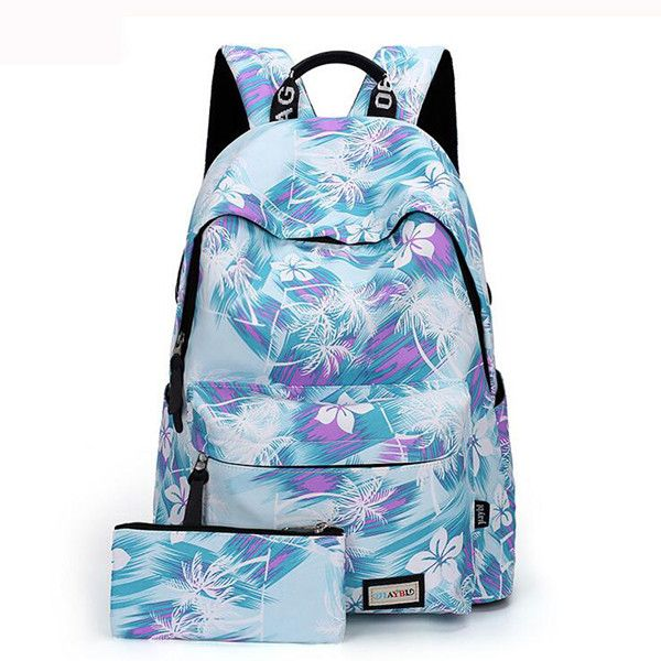 Elegant Floral Pattern School Bag College Laptop for Teens Girls Stude