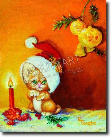 """Elsie C. Fouche è originaria del Sudafrica.  Ha creato l'opera """"Gatto con cappello natalizio"""", dipinta con l'utilizzo esclusivo della bocca.  La tecnica utilizzata è quella a olio; il formato originale è 26x21 cm"""