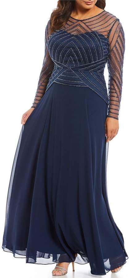 e4df6d82b2e Terani Couture Beaded Bodice Illusion Long Sleeve Gown. Plus size gowns.  Disclosure  My