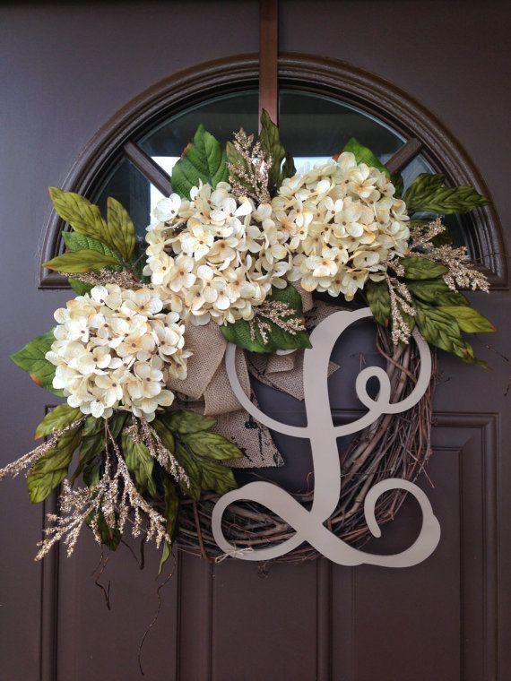 BEST SELLING Year Round Cream Hydrangea Wreath for by Flowenka