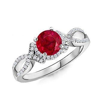 Angara Vintage Style Round Ruby Marquise and Dot Engagement Ring hgih725J