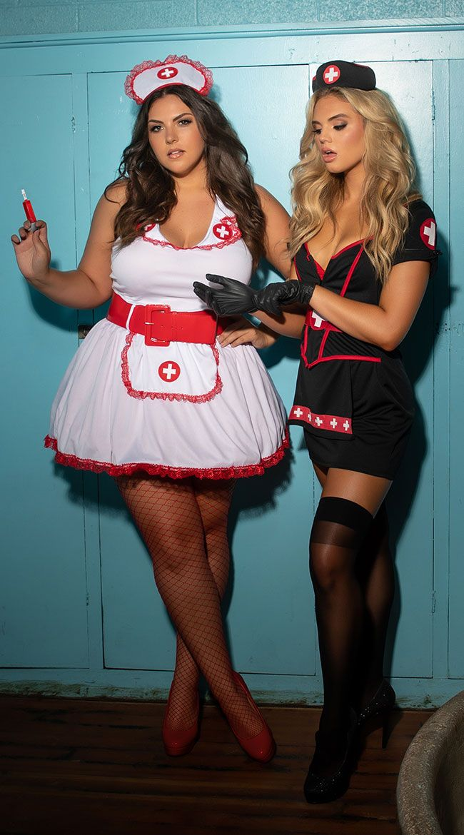 019df5d540120 Get blood pumping in this Cardiac Arrest Nurse costume featuring a black  mini dress with short sleeves, a sweetheart neckline with a red trim, ...