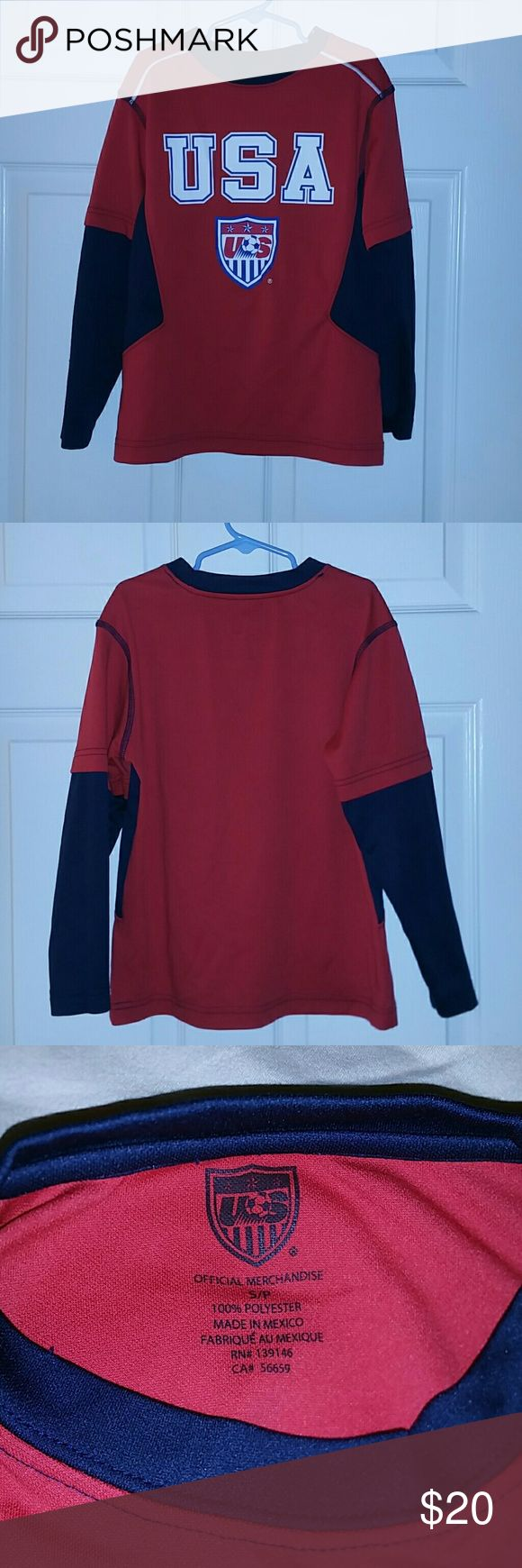 Boys long sleeve soccer shirt Boys long sleeve USA soccer shirt USA official Mechandise Shirts & Tops Tees - Long Sleeve