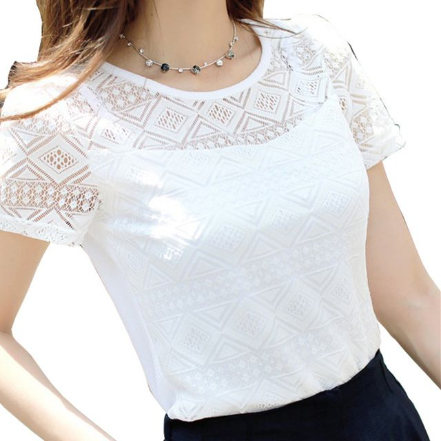 2017 Women Clothing Chiffon Blouse Lace Crochet Female Korean Shirts Ladies Blusas Tops Shirt White Blouses slim fit Tops