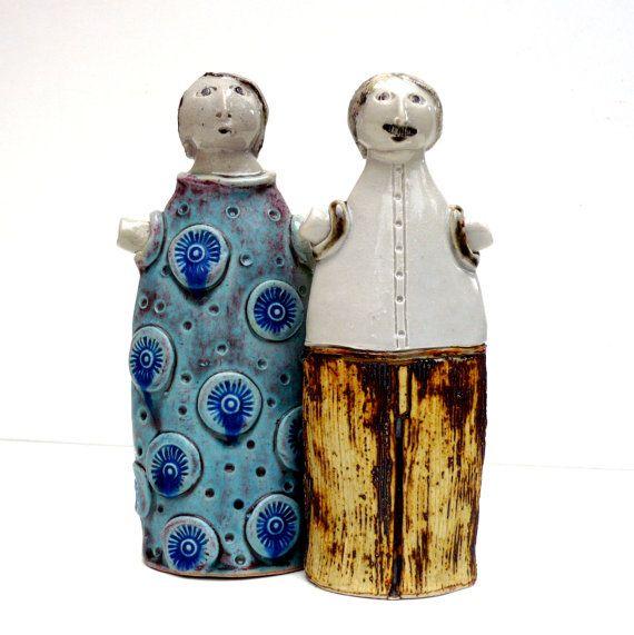 Céramique Sculpture Couple heureux cadeau de par BlueMagpieDesign