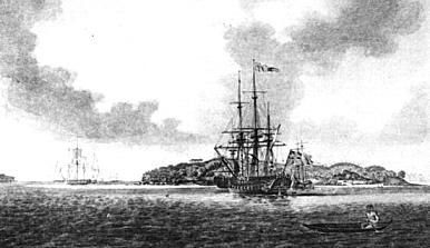The First Fleet at Anchor in Botany Bay, 1788. An Aborigine in a bark canoe is seen in the foreground. Mitchell Library