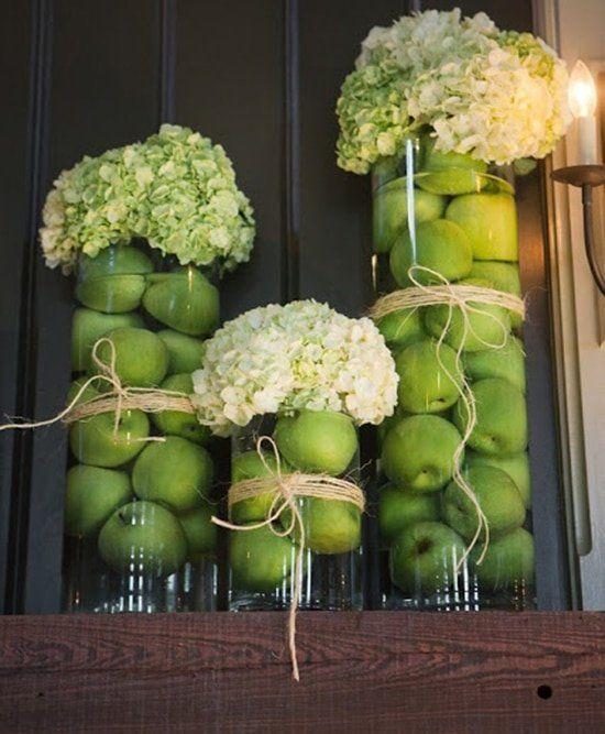 DIY Hochzeitsdekoration Bastelideen - Apfel-Blumendeko