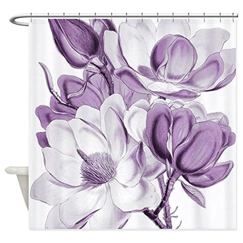 CafePress - Magnolia Purple Dream - Decorative Fabric Shower Curtain    How to Incorporate Purple Bathroom Accessories  Choosing a color scheme for the bathroom should consider the style, ambiance and energy you are striving to attain in the interior. Purple bathroom decor is becoming a popular color choice in most homes. The color purple provides a calm, soothing and striking design.
