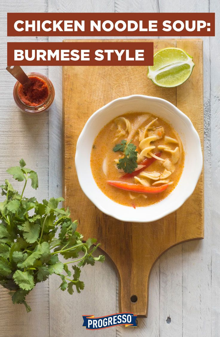 Traditional chicken noodle soup + thai curry: lemongrass, red curry, coconut milk, and red pepper!
