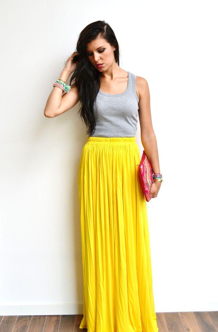 Maxi jupe longue jaune jersey taille haute et fluide tendance été style  bohème et look hippie chic