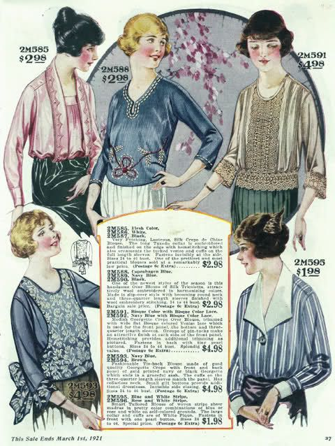 1920s Vintage blouses from Bella Hess catalog scans