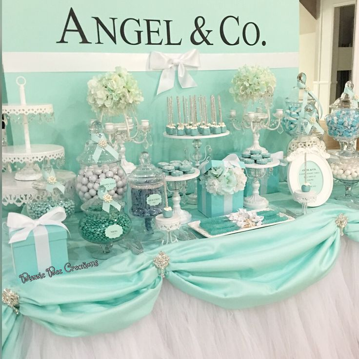 wedding shower candy buffet ideas%0A Tiffany style candy dessert table by Bizzie Bee Creations