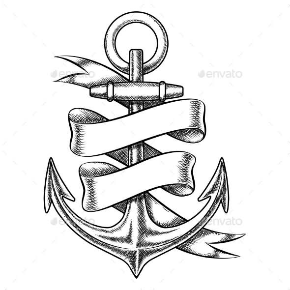 Black Ink Anchor With Scroll Ribbon Tattoo Design