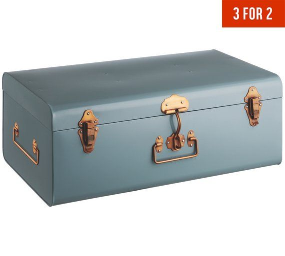 Buy Habitat Large Trunk with Copper Clasps - Blue at Argos.co.uk, visit Argos.co.uk to shop online for Storage baskets and boxes, Storage, Home and garden