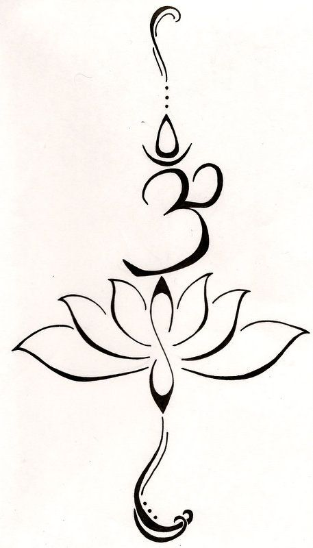 "Not a buddhist but the symbolism is nice!! A lotus to represent a new beginning, or a hard time in life that has been overcome and the symbol ""Hum"" from the Buddhist mantra to stand for love, kindness and protection...this symbol is also said to purify hatred and anger."