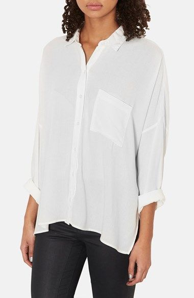 Topshop Oversized Crinkle Shirt available at #Nordstrom