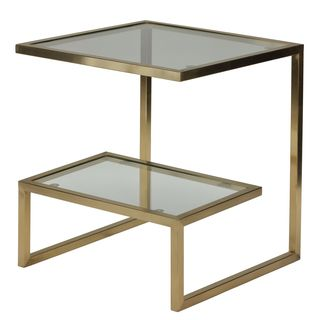 Cortesi Home Luician Contemporary End Table, Brushed Gold | Overstock.com Shopping - The Best Deals on Coffee, Sofa & End Tables